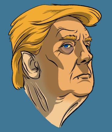 Undead Presidents Trump Head Vampire by Krappy Art