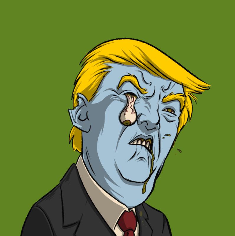Undead Presidents Trump Zombie Head by Krappy Art